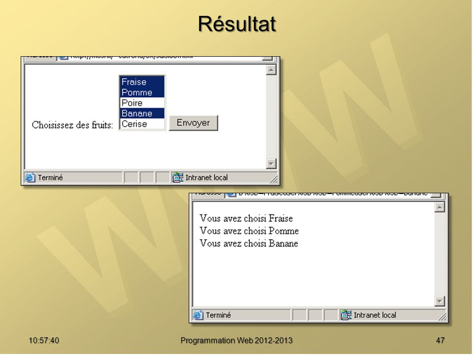 4710:59:29 Programmation Web 2012-2013 Résultat
