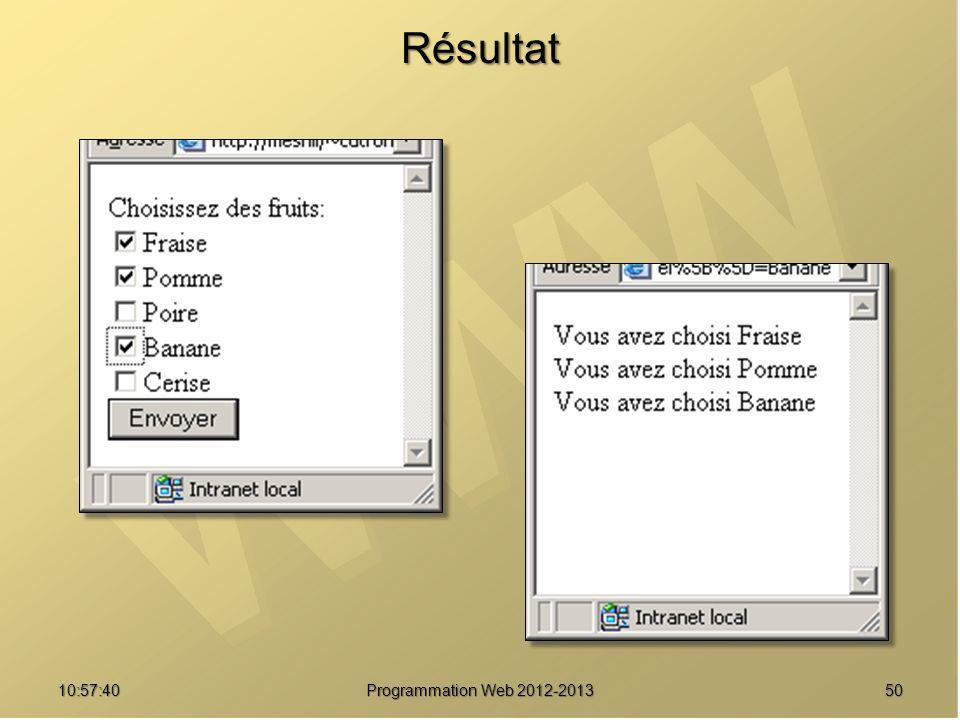 5010:59:29 Programmation Web 2012-2013 Résultat