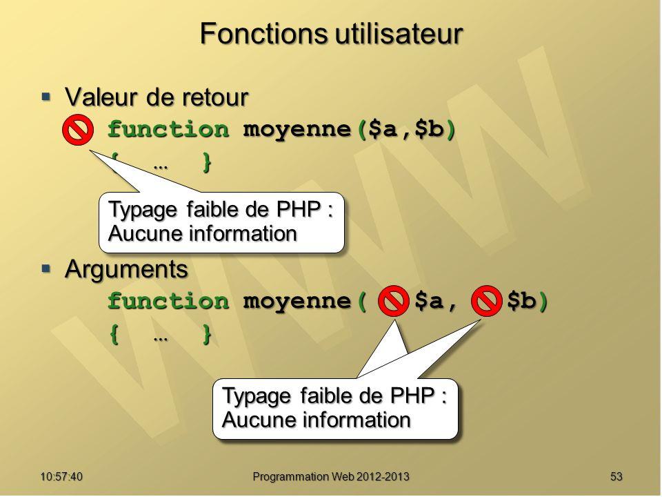 5310:59:29 Programmation Web 2012-2013 Fonctions utilisateur Valeur de retour Valeur de retour function moyenne($a,$b) { … } Arguments Arguments function moyenne( $a, $b) { … } Typage faible de PHP : Aucune information Typage faible de PHP : Aucune information Typage faible de PHP : Aucune information Typage faible de PHP : Aucune information Typage faible de PHP : Aucune information Typage faible de PHP : Aucune information