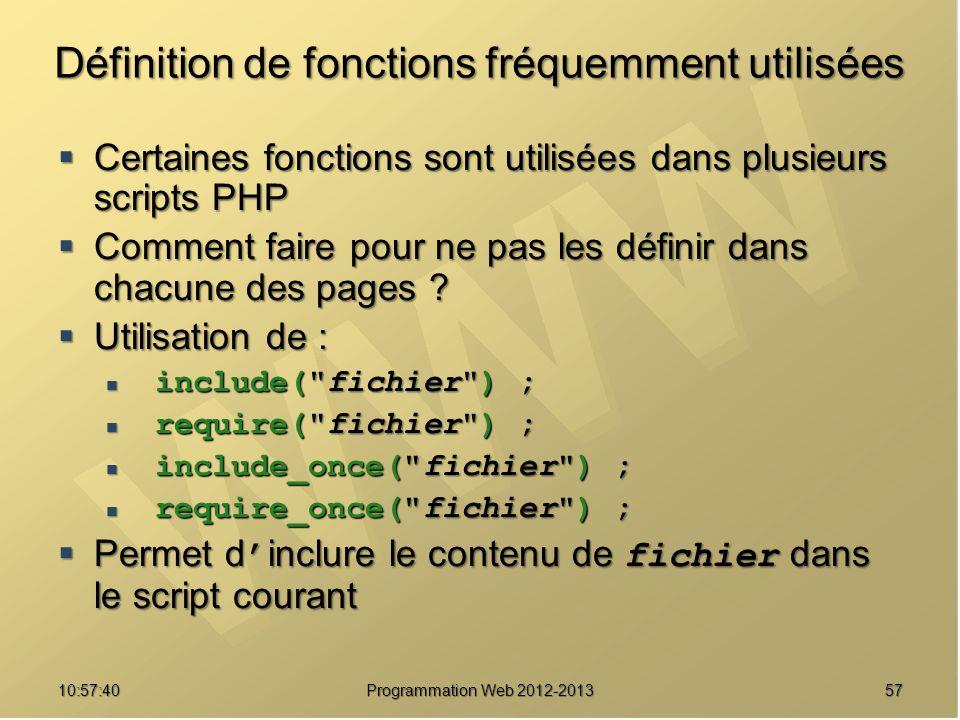 5710:59:29 Programmation Web 2012-2013 Définition de fonctions fréquemment utilisées Certaines fonctions sont utilisées dans plusieurs scripts PHP Cer