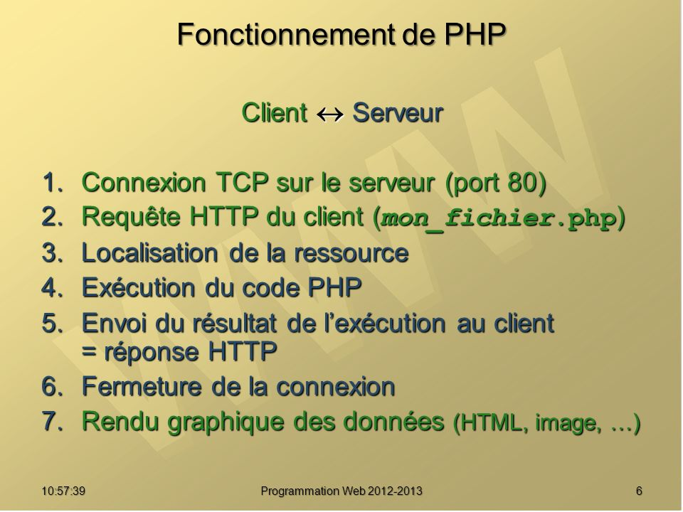 610:59:29 Programmation Web 2012-2013 Fonctionnement de PHP Client Serveur 1.Connexion TCP sur le serveur (port 80) 2.Requête HTTP du client ( mon_fic