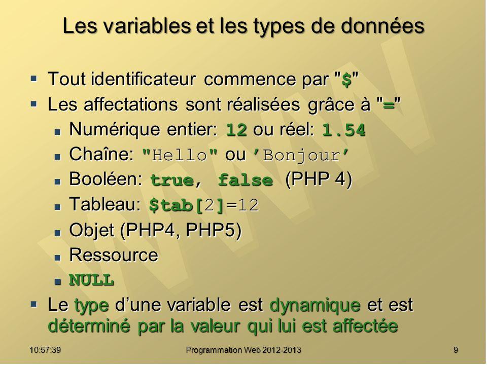 910:59:29 Programmation Web 2012-2013 Les variables et les types de données Tout identificateur commence par