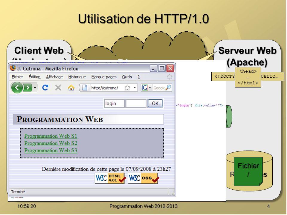 1511:00:56 Programmation Web 2012-2013 Protocole HTTP 1.1 Contraintes du client : Contraintes du client : inclure l en-tête Host: à chacune des requêtes.