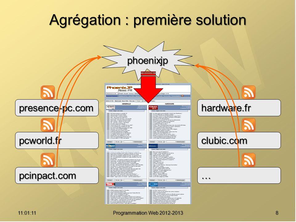 Agrégation : première solution 811:02:47 Programmation Web 2012-2013 phoenixjp presence-pc.com pcworld.fr pcinpact.com hardware.fr clubic.com …