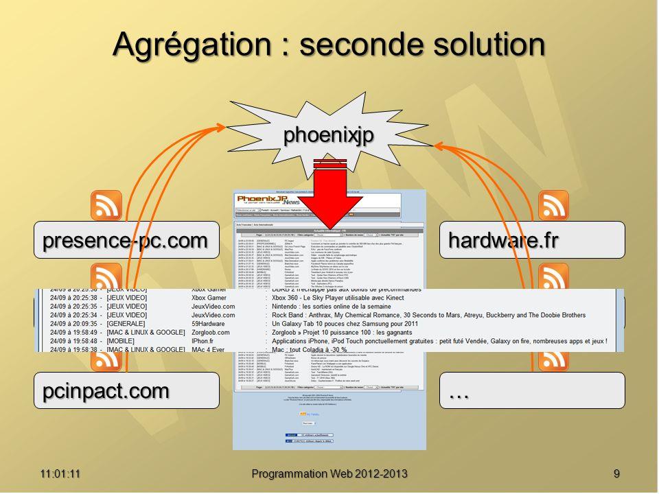 Agrégation : seconde solution 911:02:47 Programmation Web 2012-2013 phoenixjp presence-pc.com pcworld.fr pcinpact.com hardware.fr clubic.com …