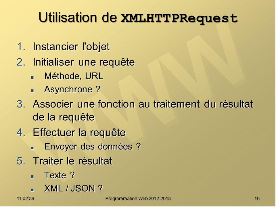 1011:04:45 Programmation Web 2012-2013 Utilisation de XMLHTTPRequest 1.Instancier l'objet 2.Initialiser une requête Méthode, URL Méthode, URL Asynchro