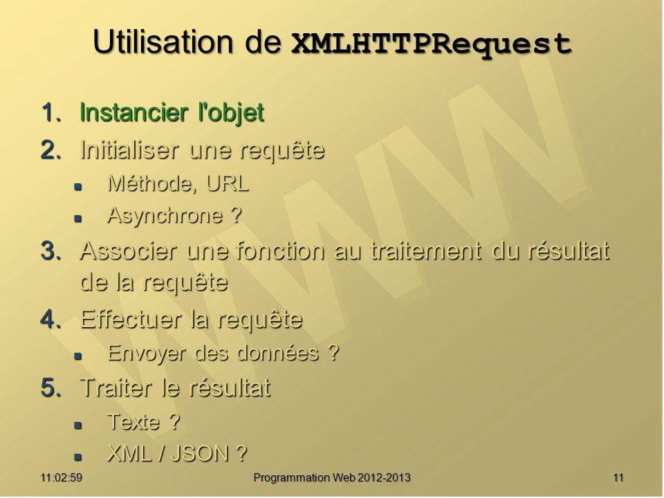 1111:04:45 Programmation Web 2012-2013 Utilisation de XMLHTTPRequest 1.Instancier l objet 2.Initialiser une requête Méthode, URL Méthode, URL Asynchrone .