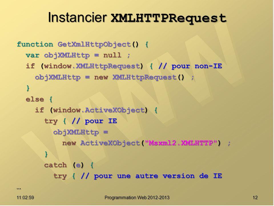 1211:04:45 Programmation Web 2012-2013 Instancier XMLHTTPRequest function GetXmlHttpObject() { var objXMLHttp = null ; var objXMLHttp = null ; if (window.XMLHttpRequest) { // pour non-IE if (window.XMLHttpRequest) { // pour non-IE objXMLHttp = new XMLHttpRequest() ; objXMLHttp = new XMLHttpRequest() ; } else { else { if (window.ActiveXObject) { if (window.ActiveXObject) { try { // pour IE try { // pour IE objXMLHttp = objXMLHttp = new ActiveXObject( Msxml2.XMLHTTP ) ; new ActiveXObject( Msxml2.XMLHTTP ) ; } catch (e) { catch (e) { try { // pour une autre version de IE try { // pour une autre version de IE…