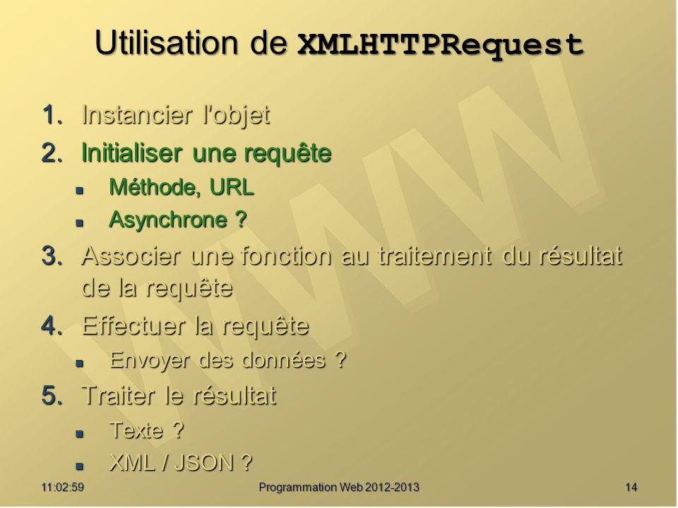 1411:04:45 Programmation Web 2012-2013 Utilisation de XMLHTTPRequest 1.Instancier l'objet 2.Initialiser une requête Méthode, URL Méthode, URL Asynchro