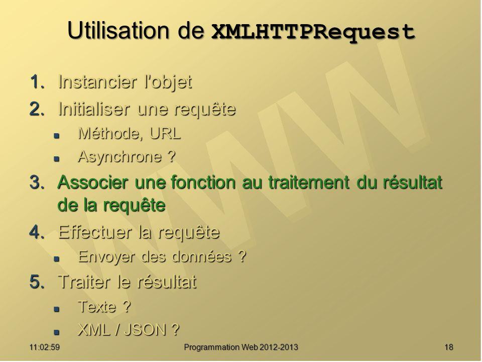 1811:04:45 Programmation Web 2012-2013 Utilisation de XMLHTTPRequest 1.Instancier l objet 2.Initialiser une requête Méthode, URL Méthode, URL Asynchrone .