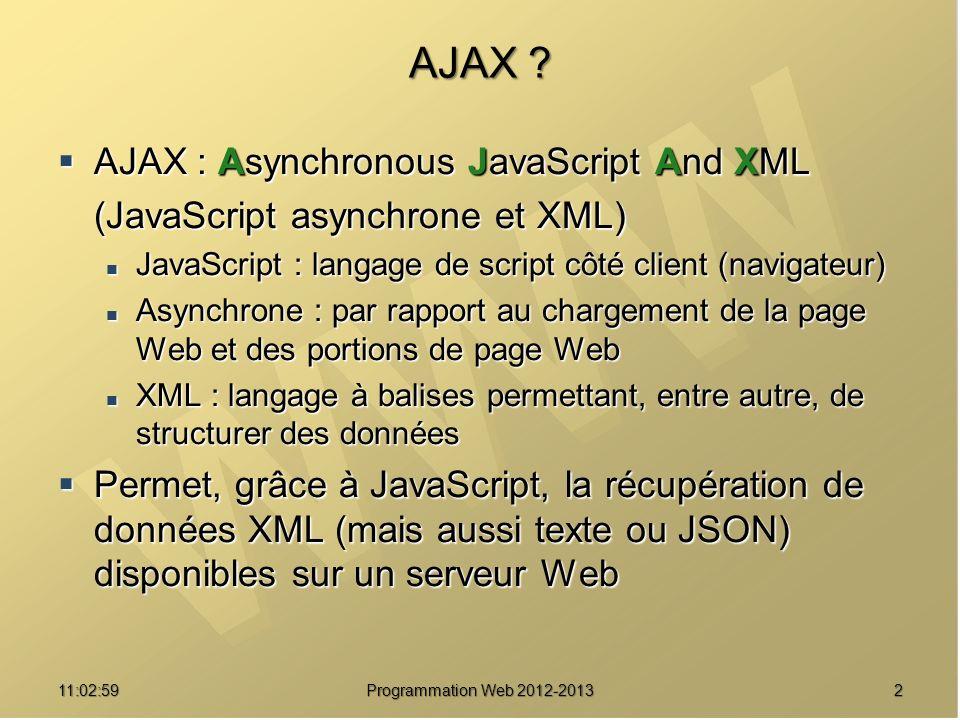 1311:04:45 Programmation Web 2012-2013 Instancier XMLHTTPRequest … objXMLHttp = objXMLHttp = new ActiveXObject( Microsoft.XMLHTTP ) ; new ActiveXObject( Microsoft.XMLHTTP ) ; } } catch (e) { catch (e) { window.alert( Votre navigateur ne prend window.alert( Votre navigateur ne prend pas en charge l objet XMLHTTPRequest. ) ; pas en charge l objet XMLHTTPRequest. ) ; } } return objXMLHttp ; return objXMLHttp ;} var xmlHttp = GetXmlHttpObject() ; Variable globale