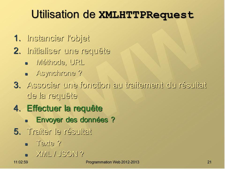2111:04:45 Programmation Web 2012-2013 Utilisation de XMLHTTPRequest 1.Instancier l'objet 2.Initialiser une requête Méthode, URL Méthode, URL Asynchro