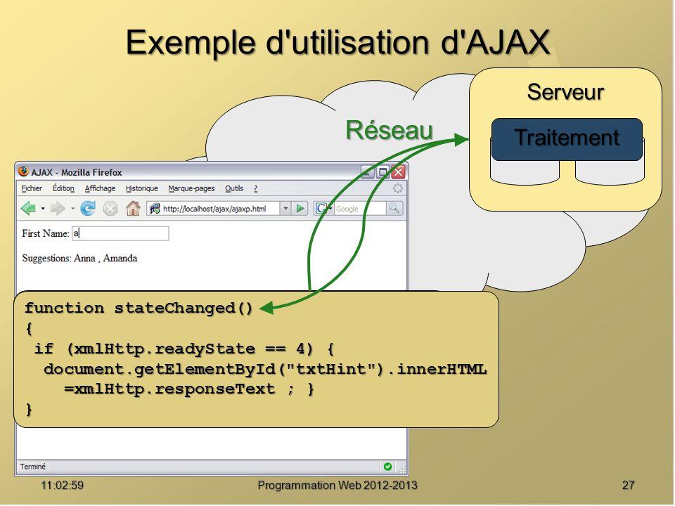 2711:04:45 Programmation Web 2012-2013 Réseau Saisie Serveur Exemple d utilisation d AJAX function showHint(str) { xmlHttp = GetXmlHttpObject() ; xmlHttp.onreadystatechange=stateChanged ; xmlHttp.open( GET ,url,true) ; xmlHttp.send(null) ; } Traitement function stateChanged() { if (xmlHttp.readyState == 4) { if (xmlHttp.readyState == 4) { document.getElementById( txtHint ).innerHTML document.getElementById( txtHint ).innerHTML =xmlHttp.responseText ; } =xmlHttp.responseText ; }}