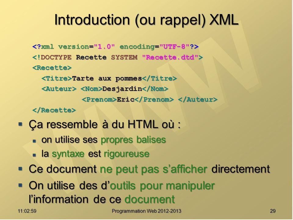 2911:04:45 Programmation Web 2012-2013 Introduction (ou rappel) XML <Recette> Tarte aux pommes Tarte aux pommes Desjardin Desjardin Eric Eric </Recett