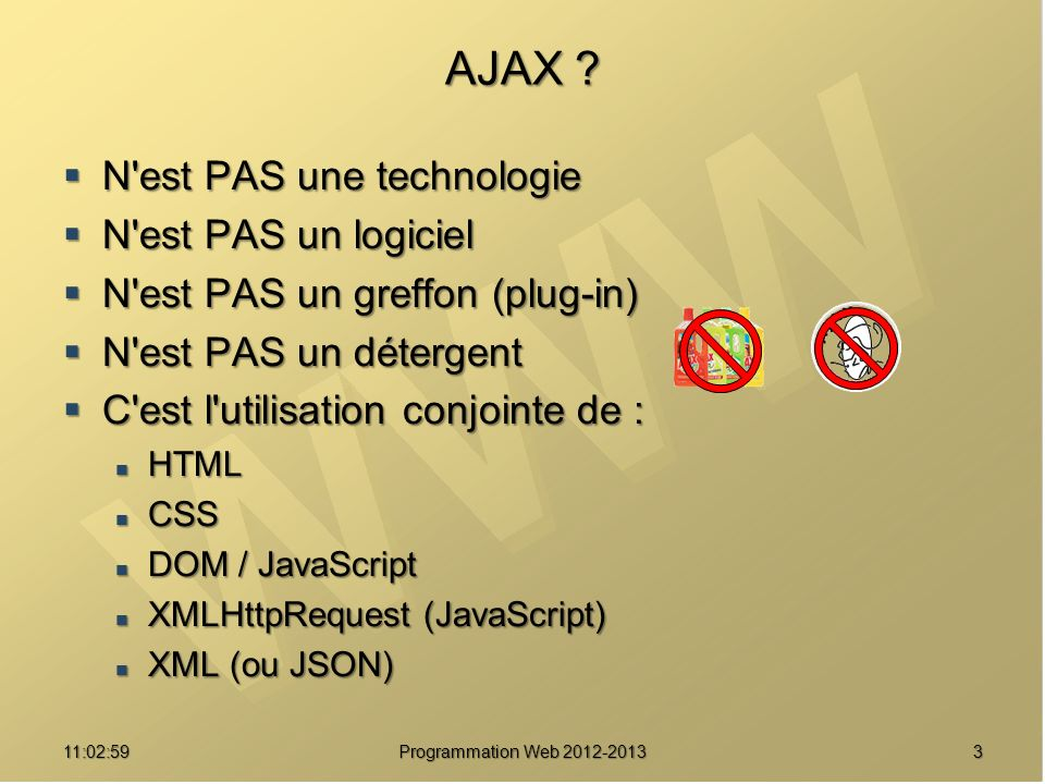 311:04:45 Programmation Web 2012-2013 AJAX ? N'est PAS une technologie N'est PAS une technologie N'est PAS un logiciel N'est PAS un logiciel N'est PAS