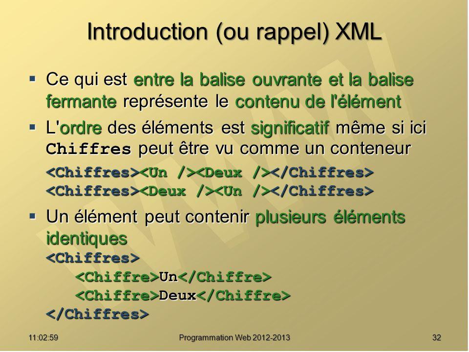 3211:04:45 Programmation Web 2012-2013 Introduction (ou rappel) XML Ce qui est entre la balise ouvrante et la balise fermante représente le contenu de