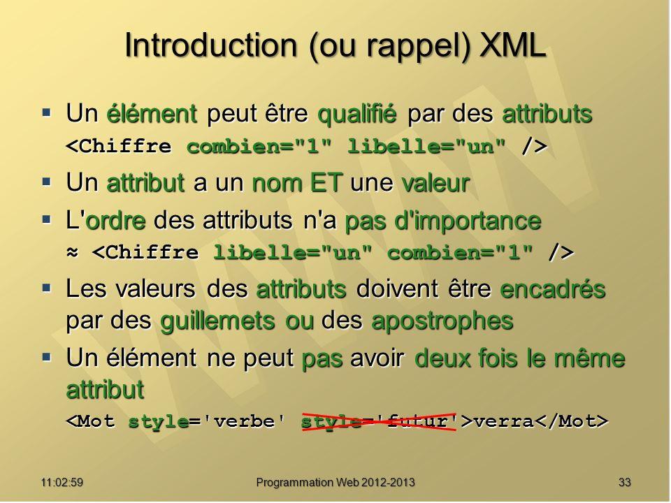 3311:04:45 Programmation Web 2012-2013 Introduction (ou rappel) XML Un élément peut être qualifié par des attributs Un élément peut être qualifié par
