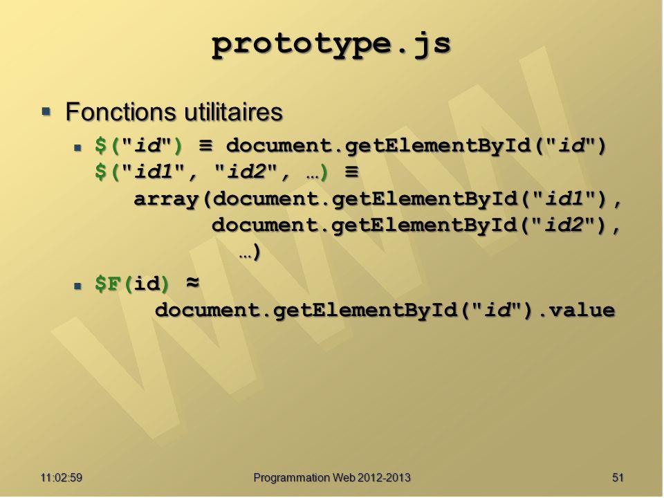 5111:04:45 prototype.js Fonctions utilitaires Fonctions utilitaires $( id ) document.getElementById( id ) $( id1 , id2 , …) array(document.getElementById( id1 ), document.getElementById( id2 ), …) $( id ) document.getElementById( id ) $( id1 , id2 , …) array(document.getElementById( id1 ), document.getElementById( id2 ), …) $F(id) document.getElementById( id ).value $F(id) document.getElementById( id ).value