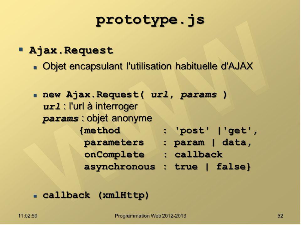 5211:04:45 Programmation Web 2012-2013 prototype.js Ajax.Request Ajax.Request Objet encapsulant l utilisation habituelle d AJAX Objet encapsulant l utilisation habituelle d AJAX new Ajax.Request( url, params ) url : l url à interroger params : objet anonyme {method : post | get , parameters : param | data, onComplete : callback asynchronous : true | false} new Ajax.Request( url, params ) url : l url à interroger params : objet anonyme {method : post | get , parameters : param | data, onComplete : callback asynchronous : true | false} callback (xmlHttp) callback (xmlHttp)