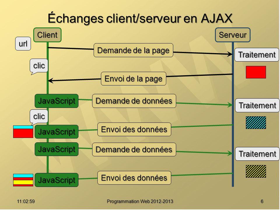 711:04:45 Programmation Web 2012-2013 XMLHTTPRequest Cœur d AJAX Cœur d AJAX Objet JavaScript Objet JavaScript En fait, objets JavaScript En fait, objets JavaScript Microsoft : Microsoft : ActiveXObject( Msxml2.XMLHTTP ) ActiveXObject( Msxml2.XMLHTTP ) ActiveXObject( Microsoft.XMLHTTP ) ActiveXObject( Microsoft.XMLHTTP ) Les autres : Les autres : XMLHttpRequest() XMLHttpRequest() Permet d effectuer des requêtes HTTP et d en récupérer le résultat Permet d effectuer des requêtes HTTP et d en récupérer le résultat