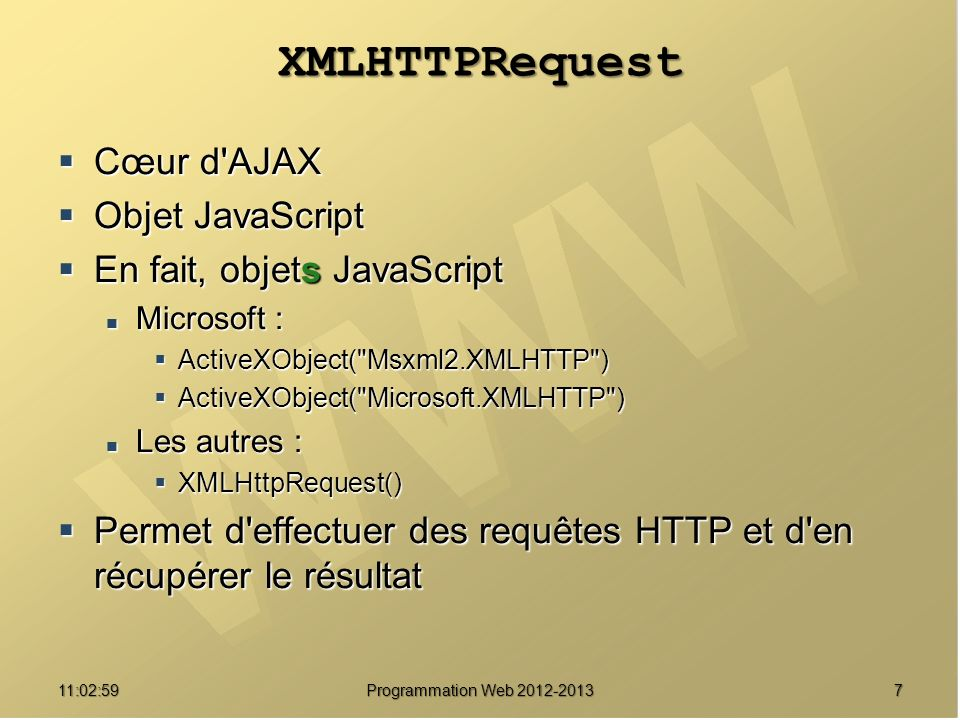 811:04:45 Programmation Web 2012-2013 onreadystatechange Gestionnaire d événements pour les changements d état.