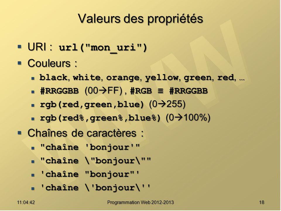 1811:06:28 Programmation Web 2012-2013 Valeurs des propriétés URI : url(