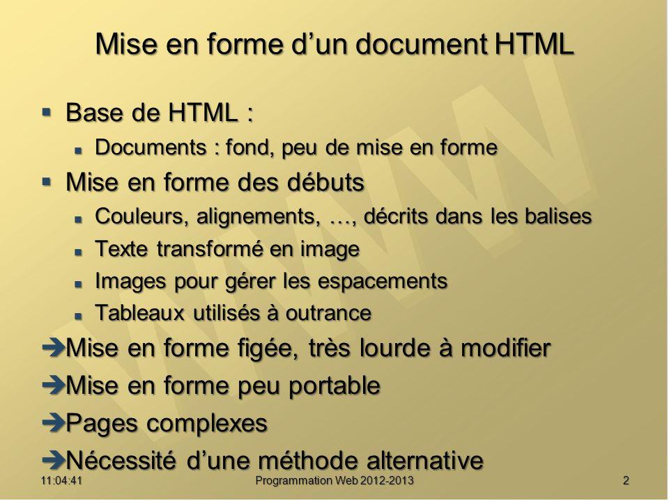 1311:06:28 Programmation Web 2012-2013 Sélecteurs CSS MotifSignification * Tout élément.