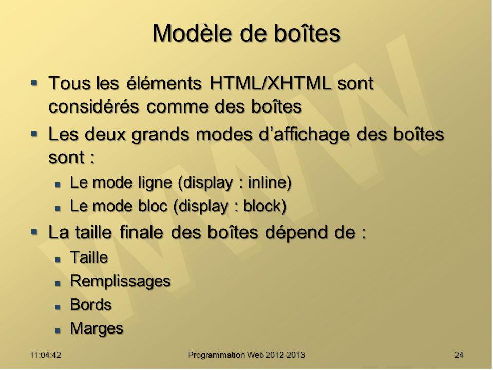 Modèle de boîtes Tous les éléments HTML/XHTML sont considérés comme des boîtes Tous les éléments HTML/XHTML sont considérés comme des boîtes Les deux grands modes daffichage des boîtes sont : Les deux grands modes daffichage des boîtes sont : Le mode ligne (display : inline) Le mode ligne (display : inline) Le mode bloc (display : block) Le mode bloc (display : block) La taille finale des boîtes dépend de : La taille finale des boîtes dépend de : Taille Taille Remplissages Remplissages Bords Bords Marges Marges 2411:06:28 Programmation Web 2012-2013