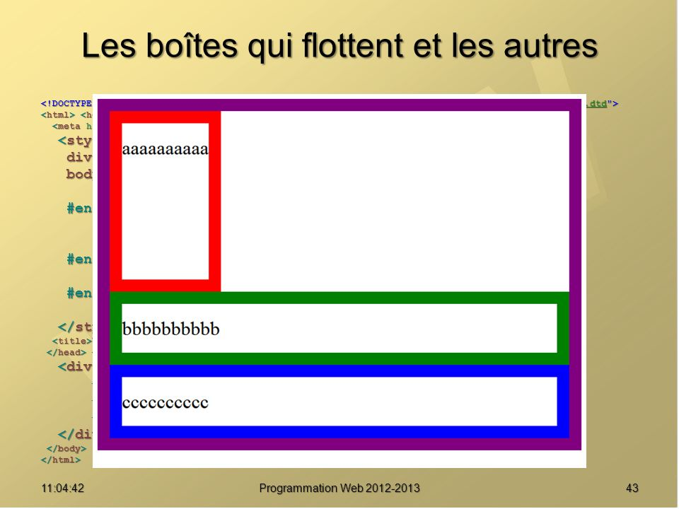 Les boîtes qui flottent et les autres 4311:06:28 Programmation Web 2012-2013 http://www.w3.org/TR/html4/loose.dtd div { border : solid 20px purple ; } div { border : solid 20px purple ; } body { font-size : 2em ; body { font-size : 2em ; line-height : 2.5em ; } line-height : 2.5em ; } #enfant1 { border-color : red ; #enfant1 { border-color : red ; float : left ; float : left ; height : 8em ; } height : 8em ; } #enfant2 { border-color : green ; #enfant2 { border-color : green ; clear : left ; } clear : left ; } #enfant3 { border-color : blue ; #enfant3 { border-color : blue ; } } Une boîte pour les gouverner tous Une boîte pour les gouverner tous aaaaaaaaaa aaaaaaaaaa bbbbbbbbbb bbbbbbbbbb cccccccccc cccccccccc