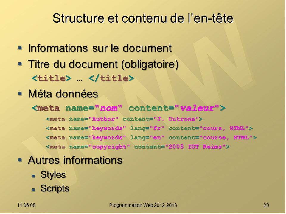 2011:07:59 Structure et contenu de len-tête Informations sur le document Informations sur le document Titre du document (obligatoire) Titre du documen