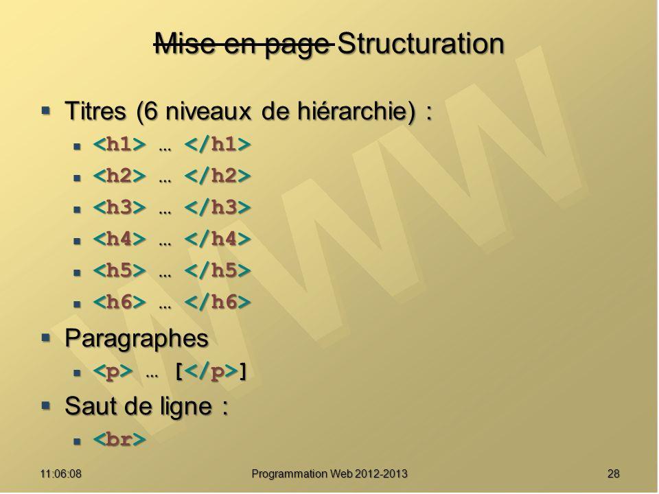 2811:07:59 Mise en page Structuration Titres (6 niveaux de hiérarchie) : Titres (6 niveaux de hiérarchie) : … … Paragraphes Paragraphes … [ ] … [ ] Saut de ligne : Saut de ligne : Programmation Web 2012-2013