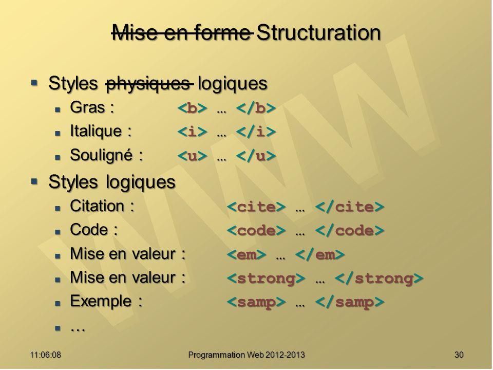 3011:07:59 Mise en forme Structuration Styles physiques logiques Styles physiques logiques Gras : … Gras : … Italique : … Italique : … Souligné : … Souligné : … Styles logiques Styles logiques Citation : … Citation : … Code : … Code : … Mise en valeur : … Mise en valeur : … Exemple : … Exemple : … … Programmation Web 2012-2013
