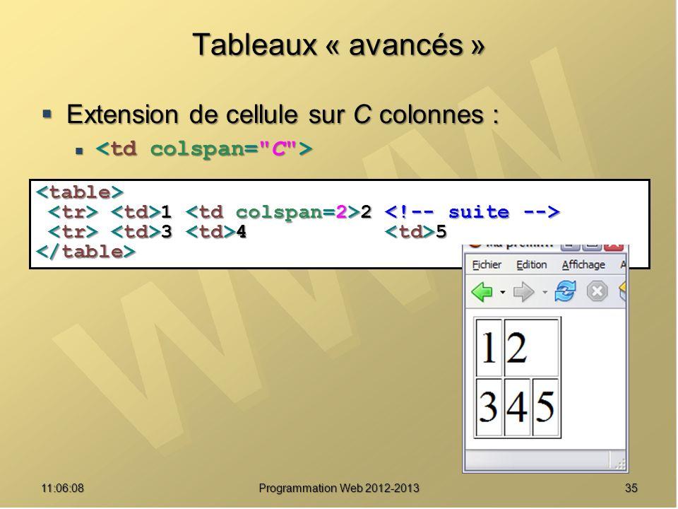 3511:07:59 Tableaux « avancés » Extension de cellule sur C colonnes : Extension de cellule sur C colonnes : 1 2 1 2 3 4 5 3 4 5 Programmation Web 2012-2013