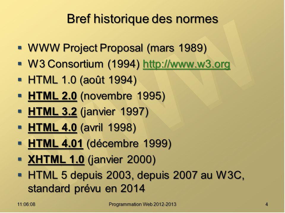 411:07:59 Bref historique des normes WWW Project Proposal (mars 1989) WWW Project Proposal (mars 1989) W3 Consortium (1994) http://www.w3.org W3 Consortium (1994) http://www.w3.orghttp://www.w3.org HTML 1.0 (août 1994) HTML 1.0 (août 1994) HTML 2.0 (novembre 1995) HTML 2.0 (novembre 1995) HTML 3.2 (janvier 1997) HTML 3.2 (janvier 1997) HTML 4.0 (avril 1998) HTML 4.0 (avril 1998) HTML 4.01 (décembre 1999) HTML 4.01 (décembre 1999) XHTML 1.0 (janvier 2000) XHTML 1.0 (janvier 2000) HTML 5 depuis 2003, depuis 2007 au W3C, standard prévu en 2014 HTML 5 depuis 2003, depuis 2007 au W3C, standard prévu en 2014 Programmation Web 2012-2013