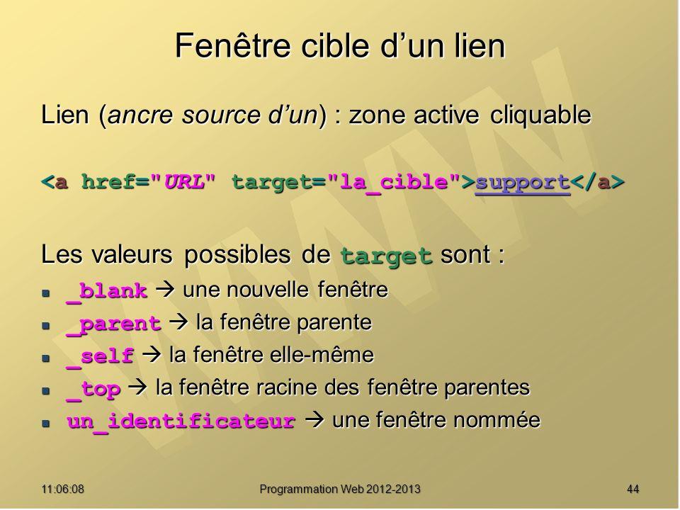 Fenêtre cible dun lien Lien (ancre source dun) : zone active cliquable support support Les valeurs possibles de target sont : _blank une nouvelle fenêtre _blank une nouvelle fenêtre _parent la fenêtre parente _parent la fenêtre parente _self la fenêtre elle-même _self la fenêtre elle-même _top la fenêtre racine des fenêtre parentes _top la fenêtre racine des fenêtre parentes un_identificateur une fenêtre nommée un_identificateur une fenêtre nommée 4411:07:59 Programmation Web 2012-2013
