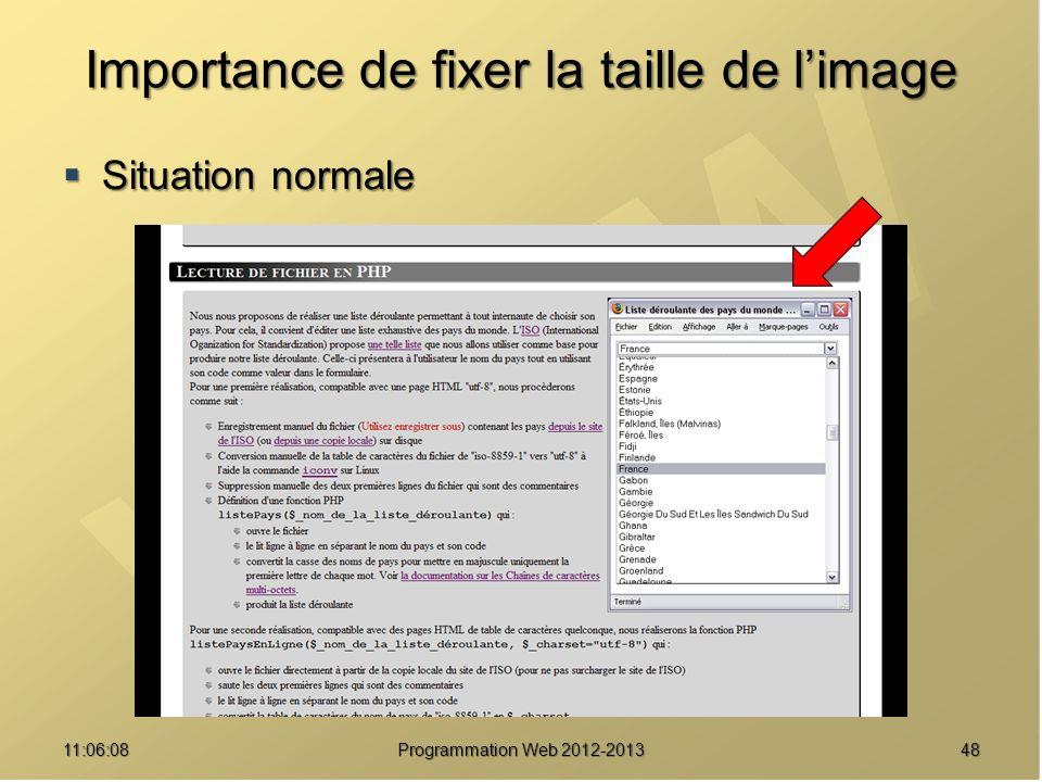 Importance de fixer la taille de limage Situation normale Situation normale 4811:07:59 Programmation Web 2012-2013