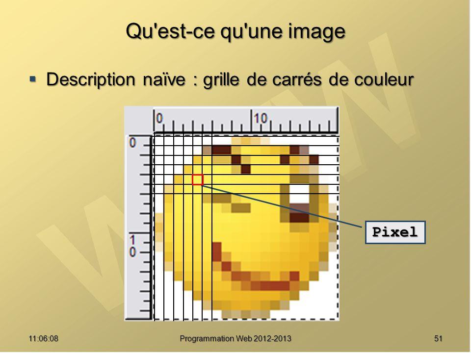5111:07:59 Qu est-ce qu une image Description naïve : grille de carrés de couleur Description naïve : grille de carrés de couleur Pixel Programmation Web 2012-2013