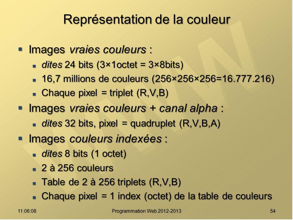 5411:07:59 Représentation de la couleur Images vraies couleurs : Images vraies couleurs : dites 24 bits (3×1octet = 3×8bits) dites 24 bits (3×1octet = 3×8bits) 16,7 millions de couleurs (256×256×256=16.777.216) 16,7 millions de couleurs (256×256×256=16.777.216) Chaque pixel = triplet (R,V,B) Chaque pixel = triplet (R,V,B) Images vraies couleurs + canal alpha : Images vraies couleurs + canal alpha : dites 32 bits, pixel = quadruplet (R,V,B,A) dites 32 bits, pixel = quadruplet (R,V,B,A) Images couleurs indexées : Images couleurs indexées : dites 8 bits (1 octet) dites 8 bits (1 octet) 2 à 256 couleurs 2 à 256 couleurs Table de 2 à 256 triplets (R,V,B) Table de 2 à 256 triplets (R,V,B) Chaque pixel = 1 index (octet) de la table de couleurs Chaque pixel = 1 index (octet) de la table de couleurs Programmation Web 2012-2013