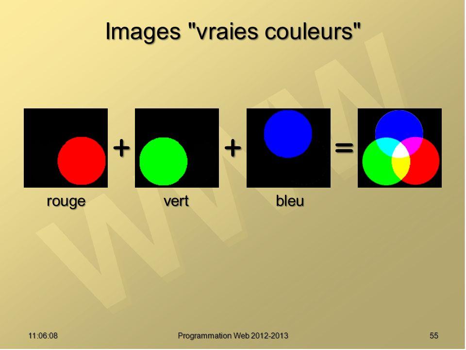 5511:07:59 Images vraies couleurs ++= rougevertbleu Programmation Web 2012-2013