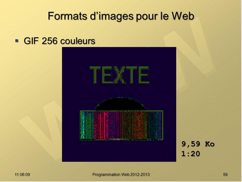 5911:07:59 Formats dimages pour le Web GIF 256 couleurs GIF 256 couleurs 9,59 Ko 1:20 Programmation Web 2012-2013