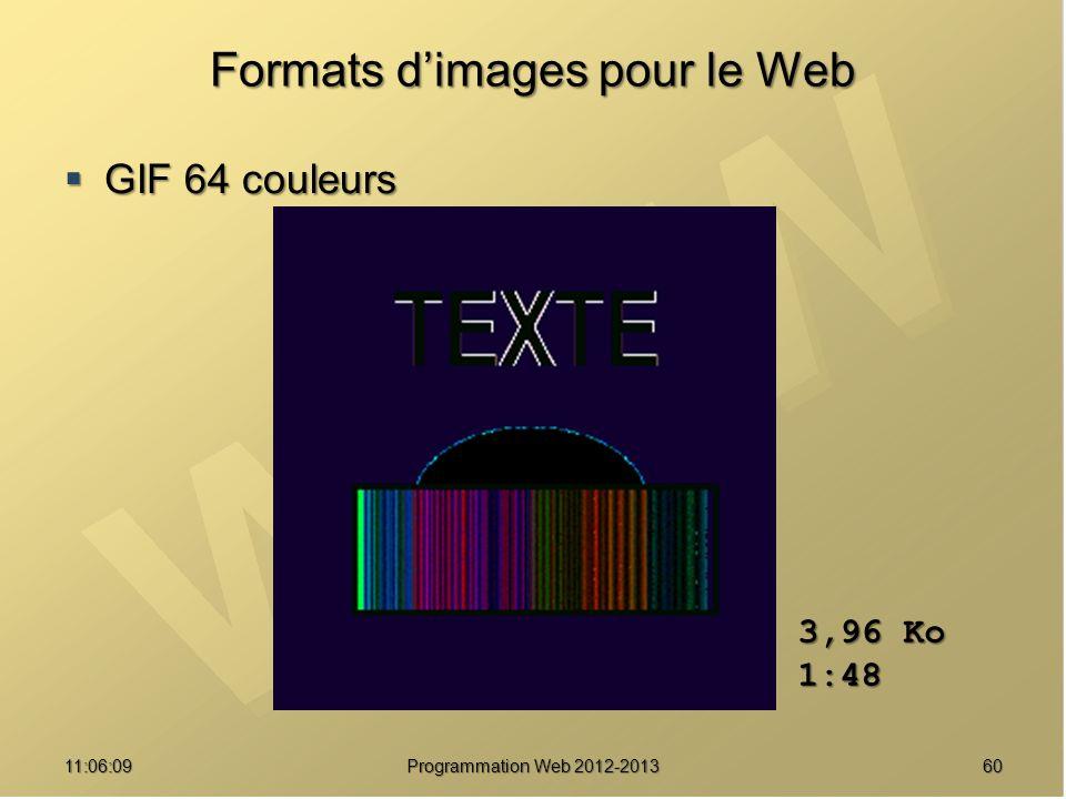 6011:07:59 Formats dimages pour le Web GIF 64 couleurs GIF 64 couleurs 3,96 Ko 1:48 Programmation Web 2012-2013