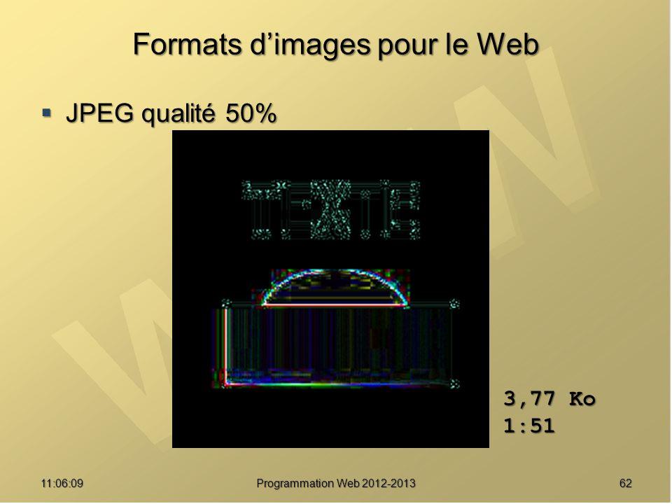 6211:07:59 Formats dimages pour le Web JPEG qualité 50% JPEG qualité 50% 3,77 Ko 1:51 Programmation Web 2012-2013