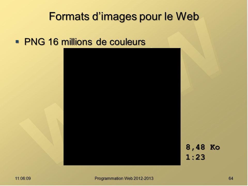 6411:07:59 Formats dimages pour le Web PNG 16 millions de couleurs PNG 16 millions de couleurs 8,48 Ko 1:23 Programmation Web 2012-2013