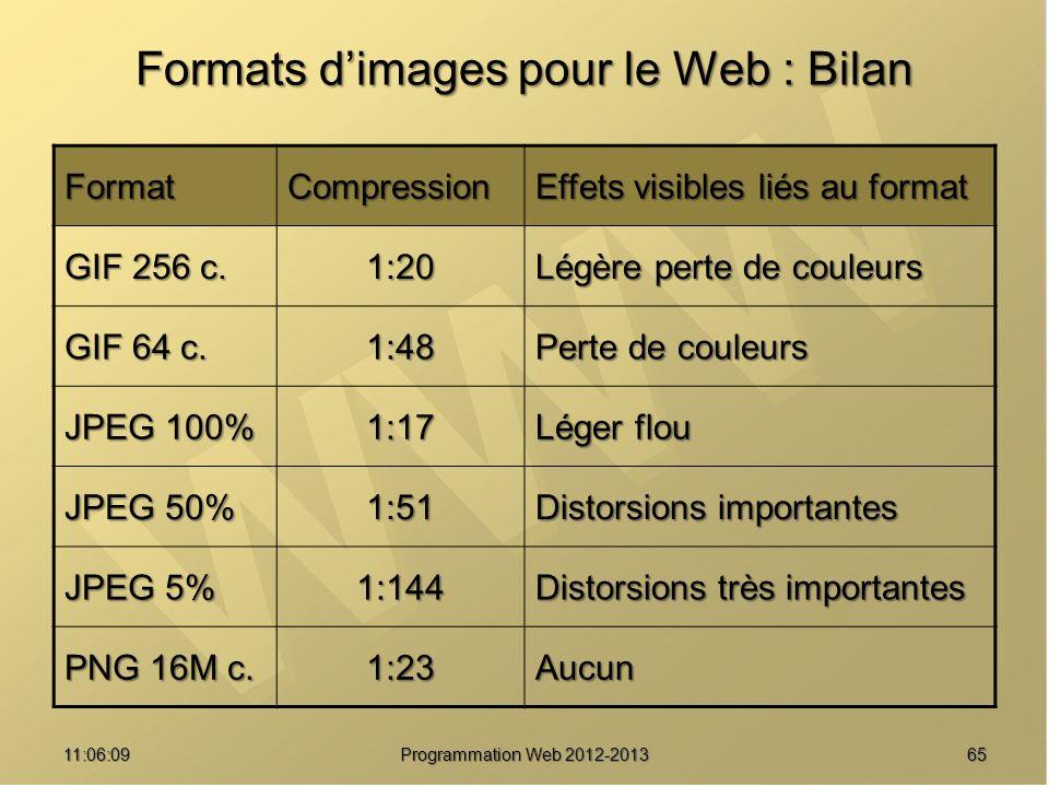 6511:07:59 Formats dimages pour le Web : Bilan FormatCompression Effets visibles liés au format GIF 256 c.