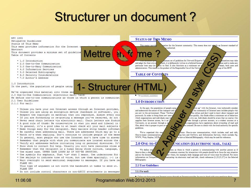 Structurer un document .711:07:59 Programmation Web 2012-2013 Mettre en forme .