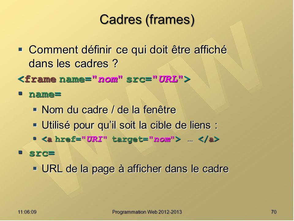 7011:07:59 Cadres (frames) Comment définir ce qui doit être affiché dans les cadres .