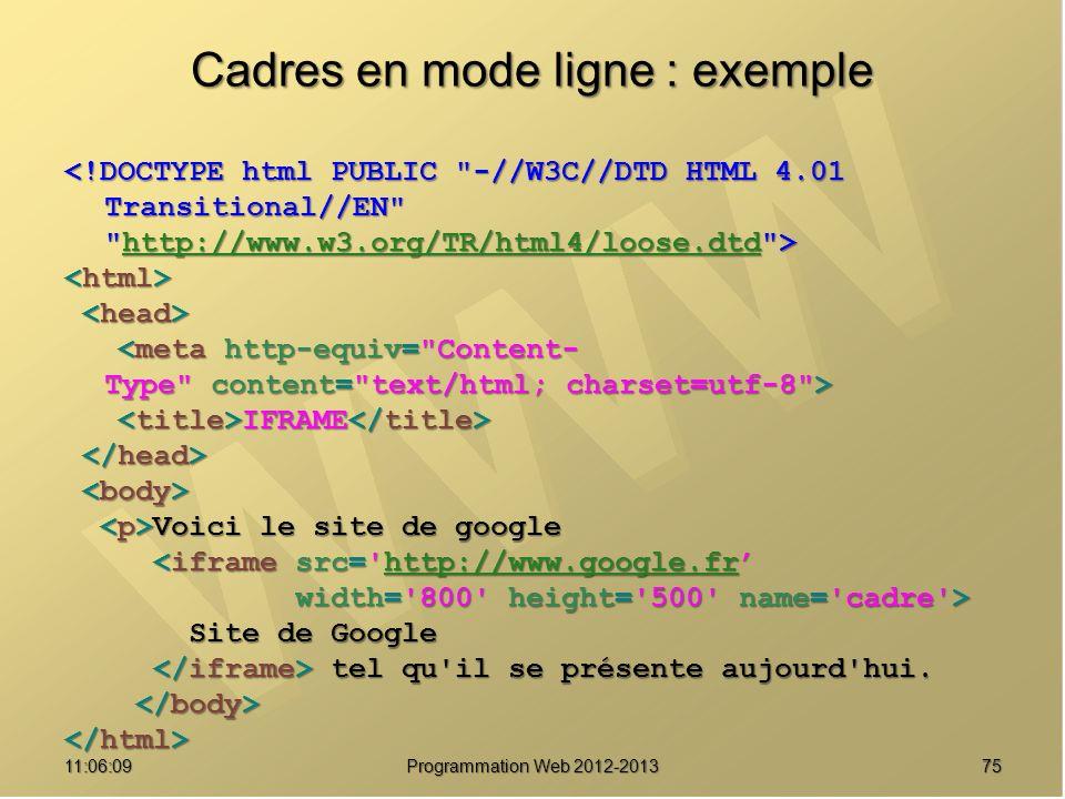7511:07:59 Cadres en mode ligne : exemple http://www.w3.org/TR/html4/loose.dtd IFRAME IFRAME Voici le site de google Voici le site de google <iframe src= http://www.google.fr <iframe src= http://www.google.frhttp://www.google.fr width= 800 height= 500 name= cadre > width= 800 height= 500 name= cadre > Site de Google Site de Google tel qu il se présente aujourd hui.