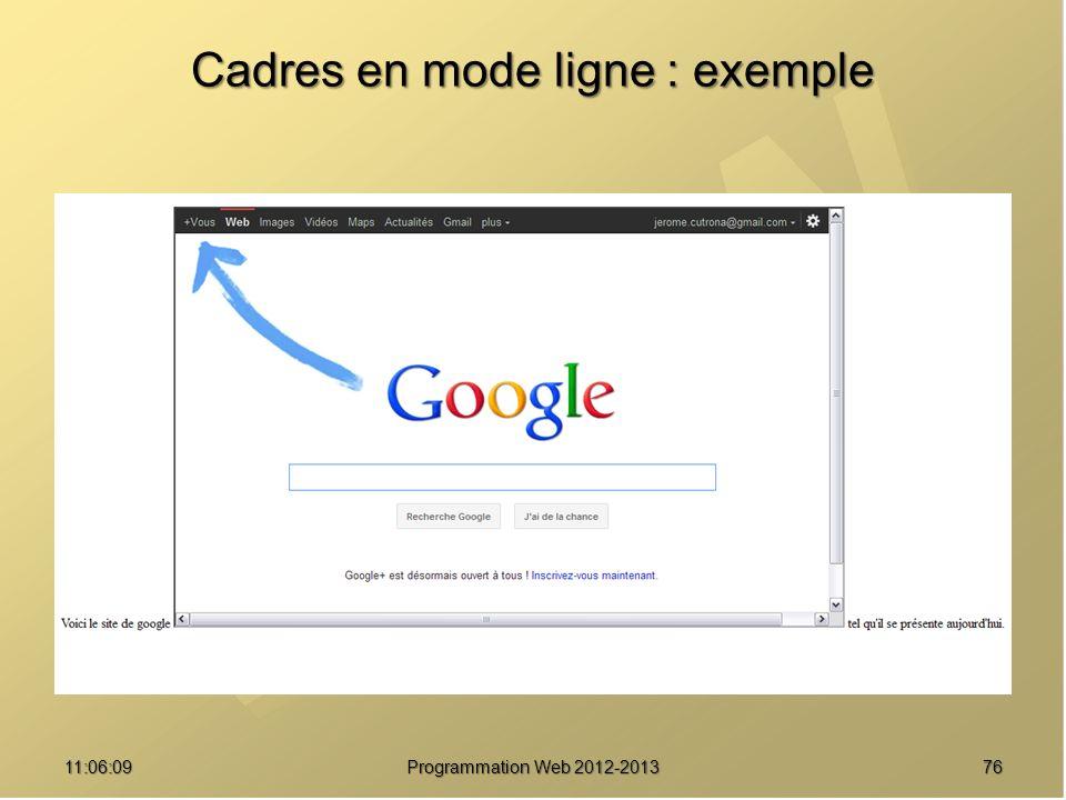 7611:07:59 Cadres en mode ligne : exemple Programmation Web 2012-2013