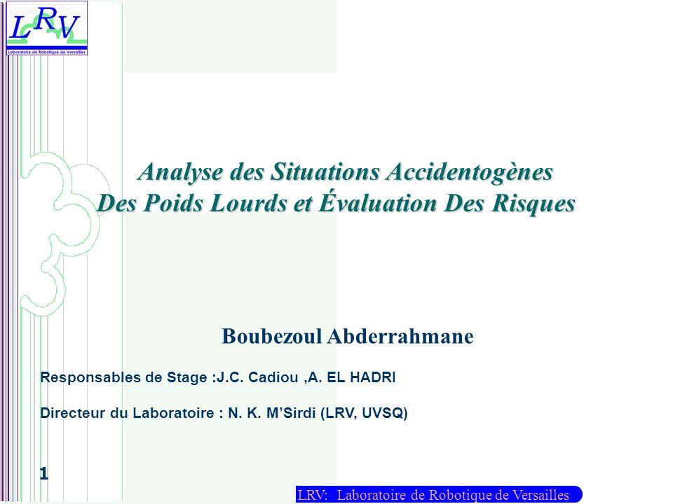 LRV: Laboratoire de Robotique de Versailles 1 Analyse des Situations Accidentogènes Des Poids Lourds et Évaluation Des Risques Boubezoul Abderrahmane