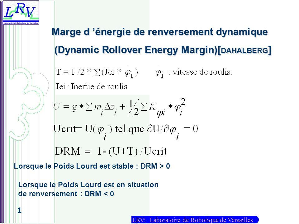 LRV: Laboratoire de Robotique de Versailles 1 Marge d énergie de renversement dynamique (Dynamic Rollover Energy Margin)[ DAHALBERG ] (Dynamic Rollove